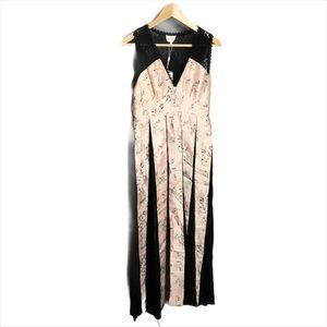 Foxiedox Pink Floral Black Lace Panel Long Dress